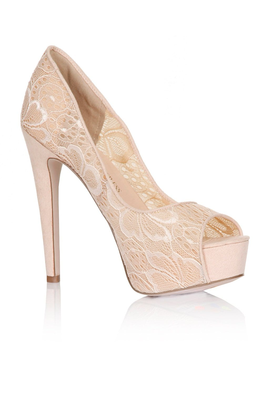 Nude Floral Lace Peep Toe Heels - from Little Mistress UK