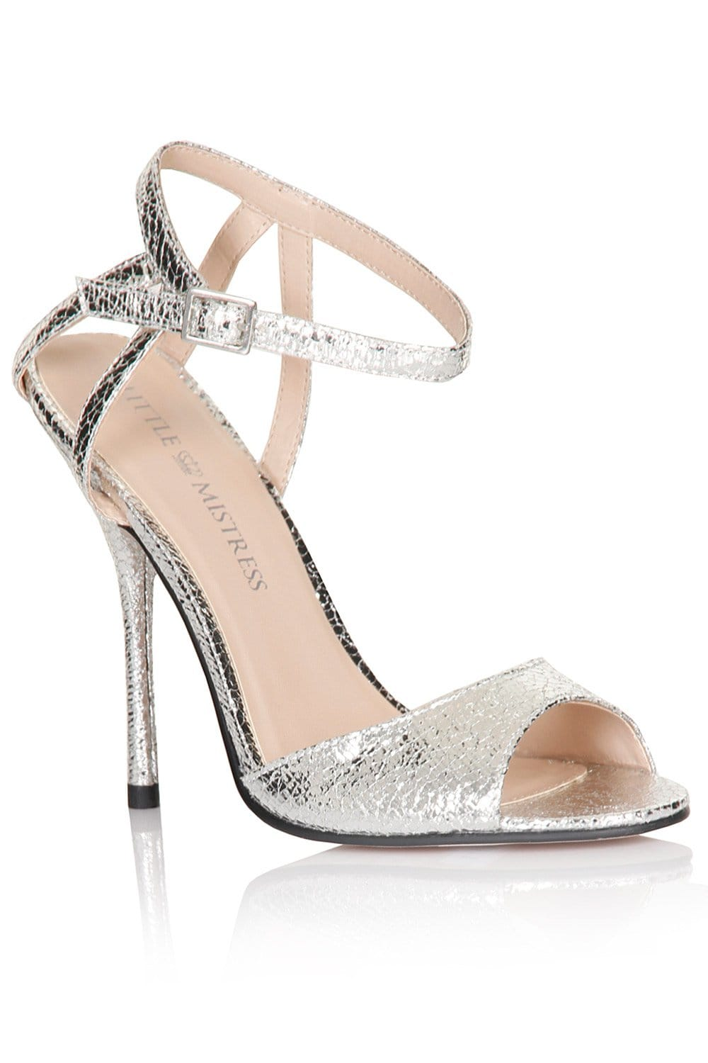 Little Mistress Footwear Silver Metallic Strap Peep Toe Heels ...