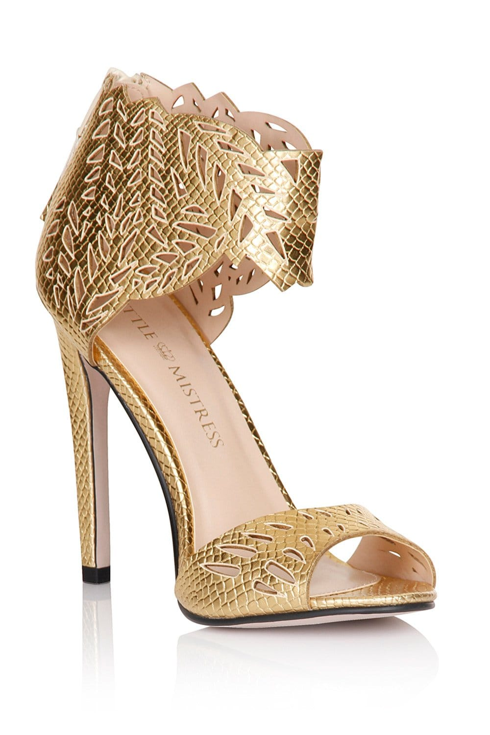 Little Mistress Footwear Gold Cut Out Ankle Cuff Heels - Little ...