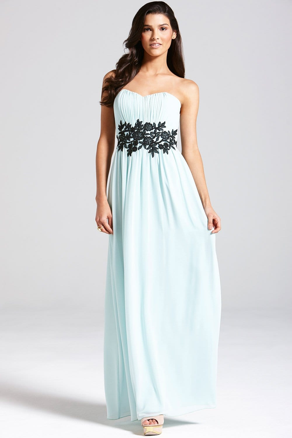 Mint Embroidered Waist Maxi Dress From Little Mistress Uk
