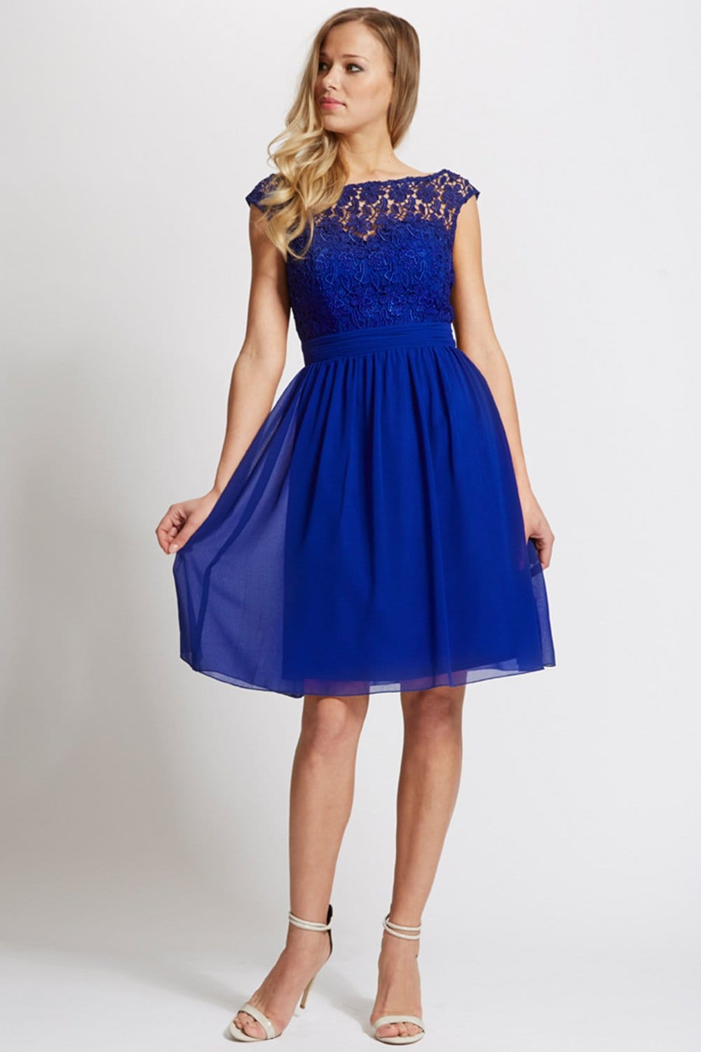 Blue Lace Bardot Dress From Little Mistress Uk