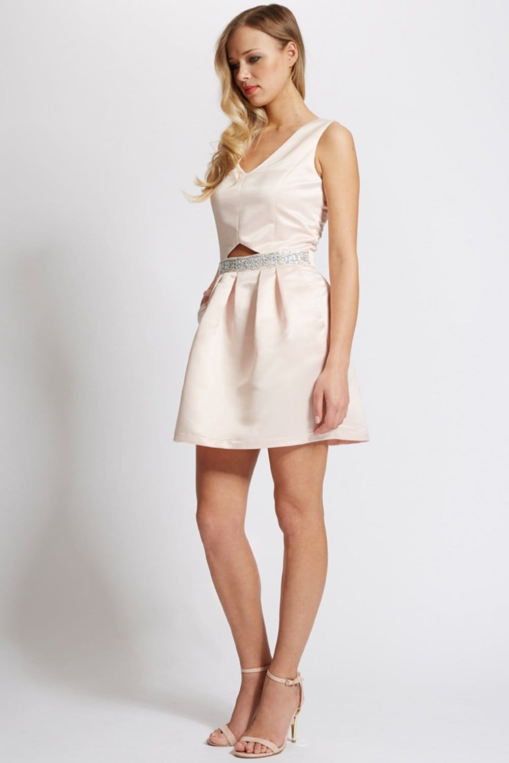 Nude Satin Cut Out Dress - from Little Mistress UK