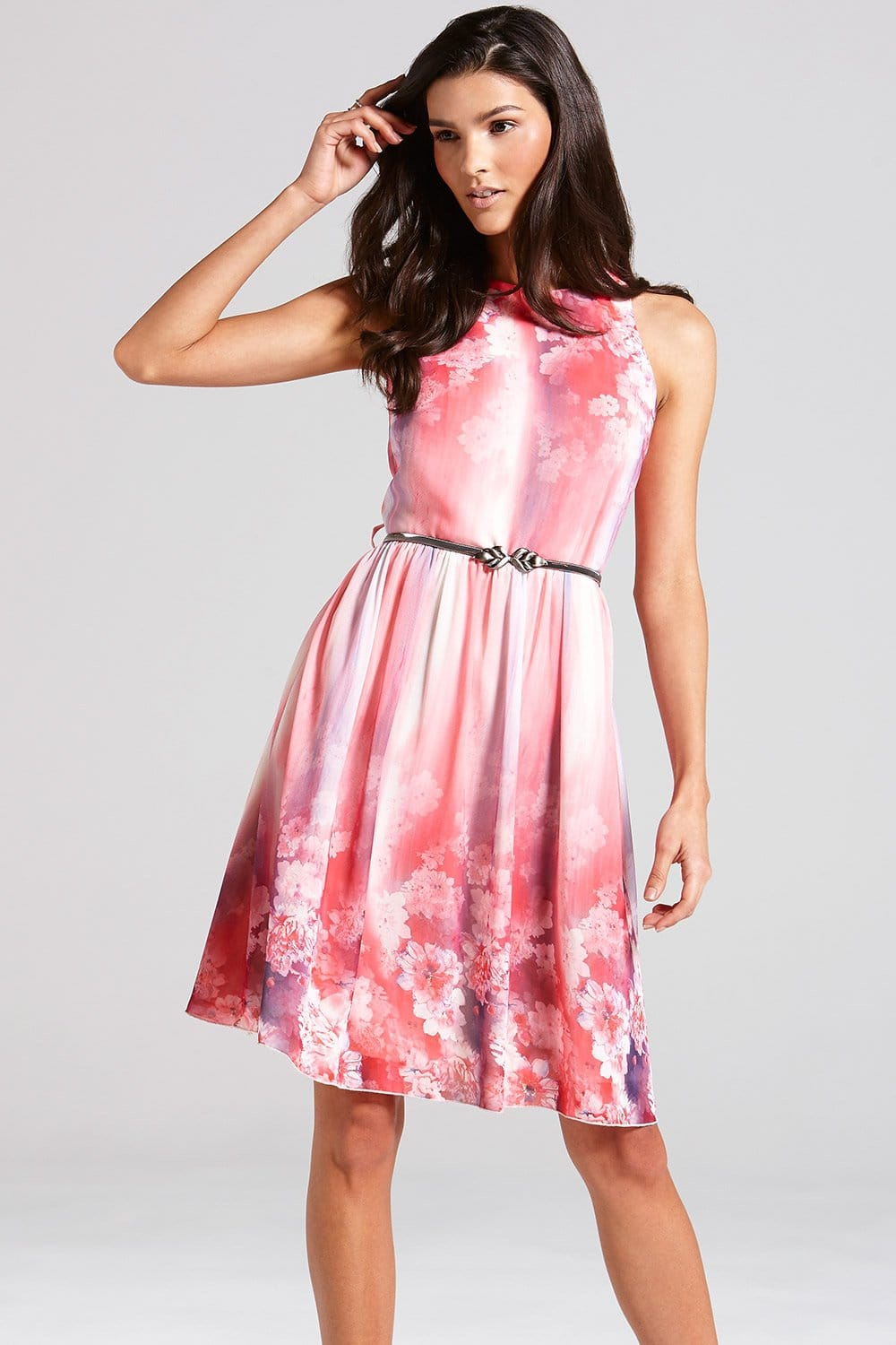 Pink Floral Fit and Flare Dress - from Little Mistress UK