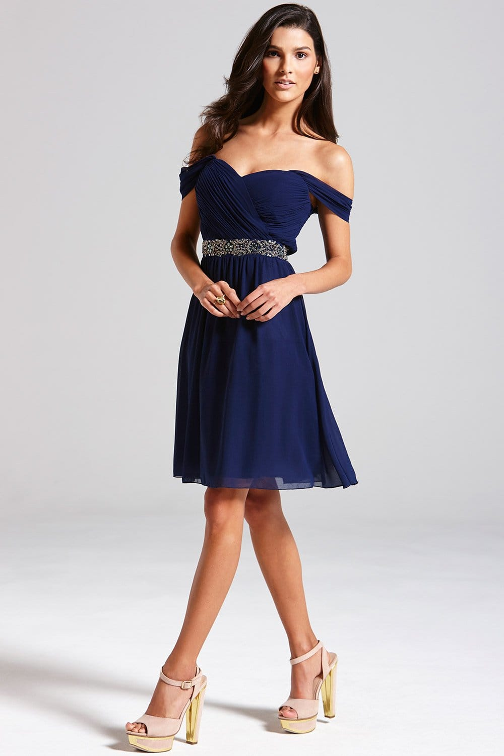 Navy Off The Shoulder Embellished Dress From Little
