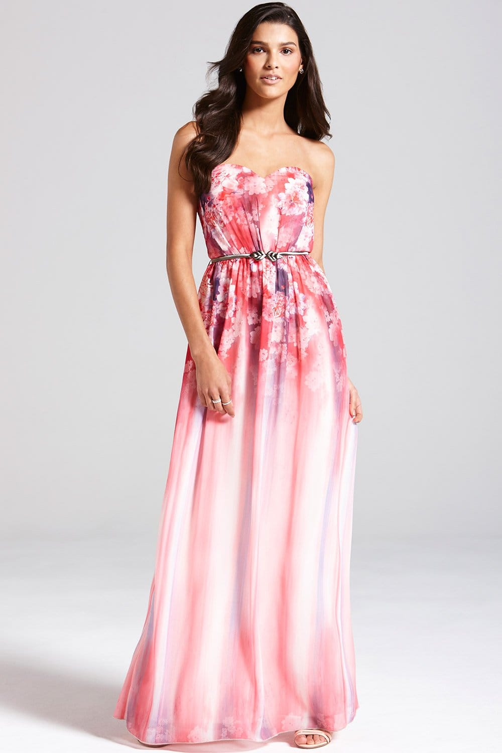 Pink Floral Bandeau Maxi Dress - from Little Mistress UK