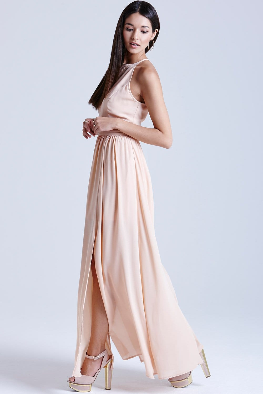 Outlet Girls On Film Peach Lace Insert Maxi Dress Outlet