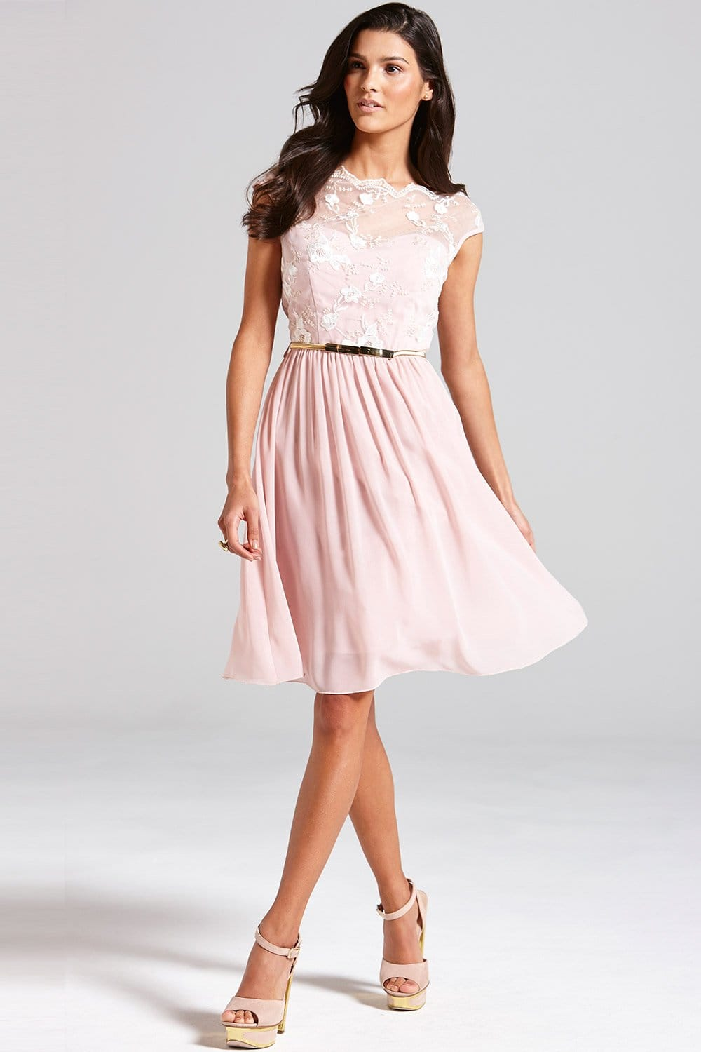 Little Mistress Pale Pink Floral Embroidered Fit And Flare