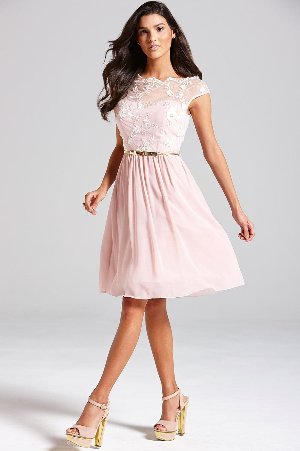 Little Mistress Pale Pink Floral Embroidered Fit and Flare Dress ...