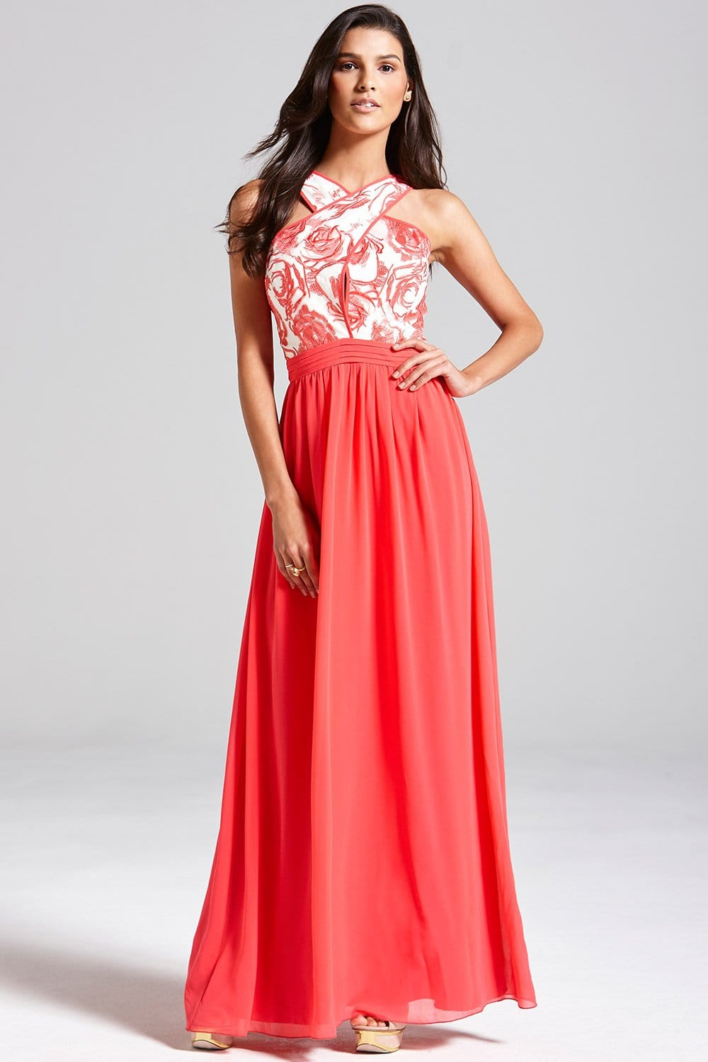Coral and Cream Floral Top Maxi Dress - from Little Mistress UK