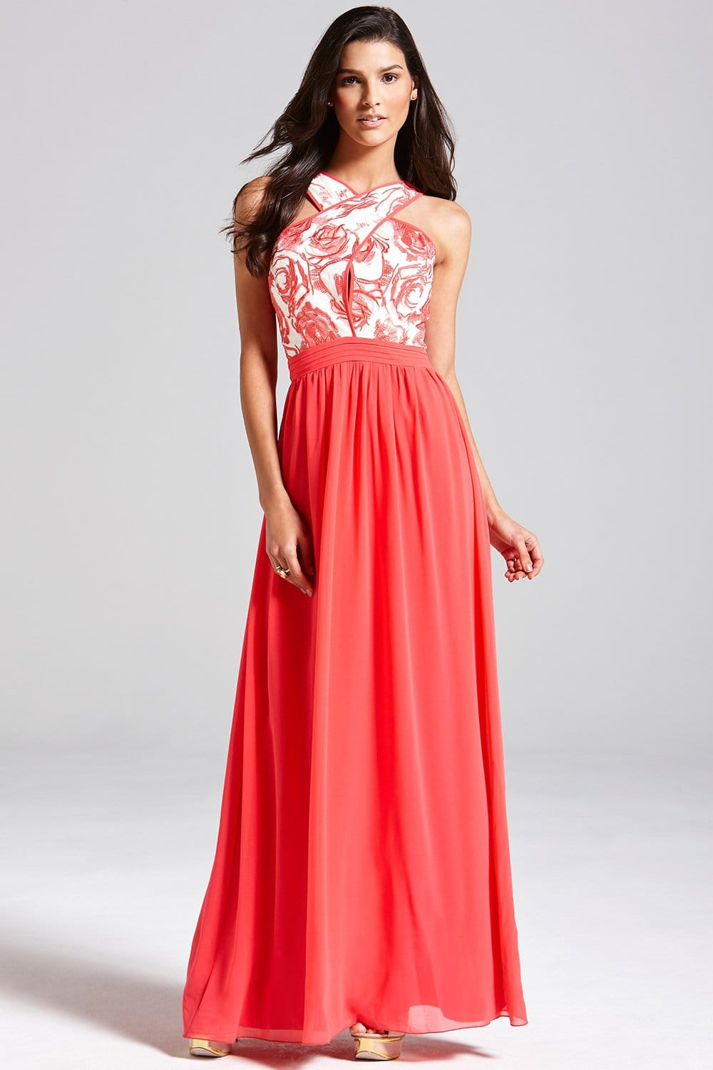 Images of Navy And Coral Maxi Dress - Reikian
