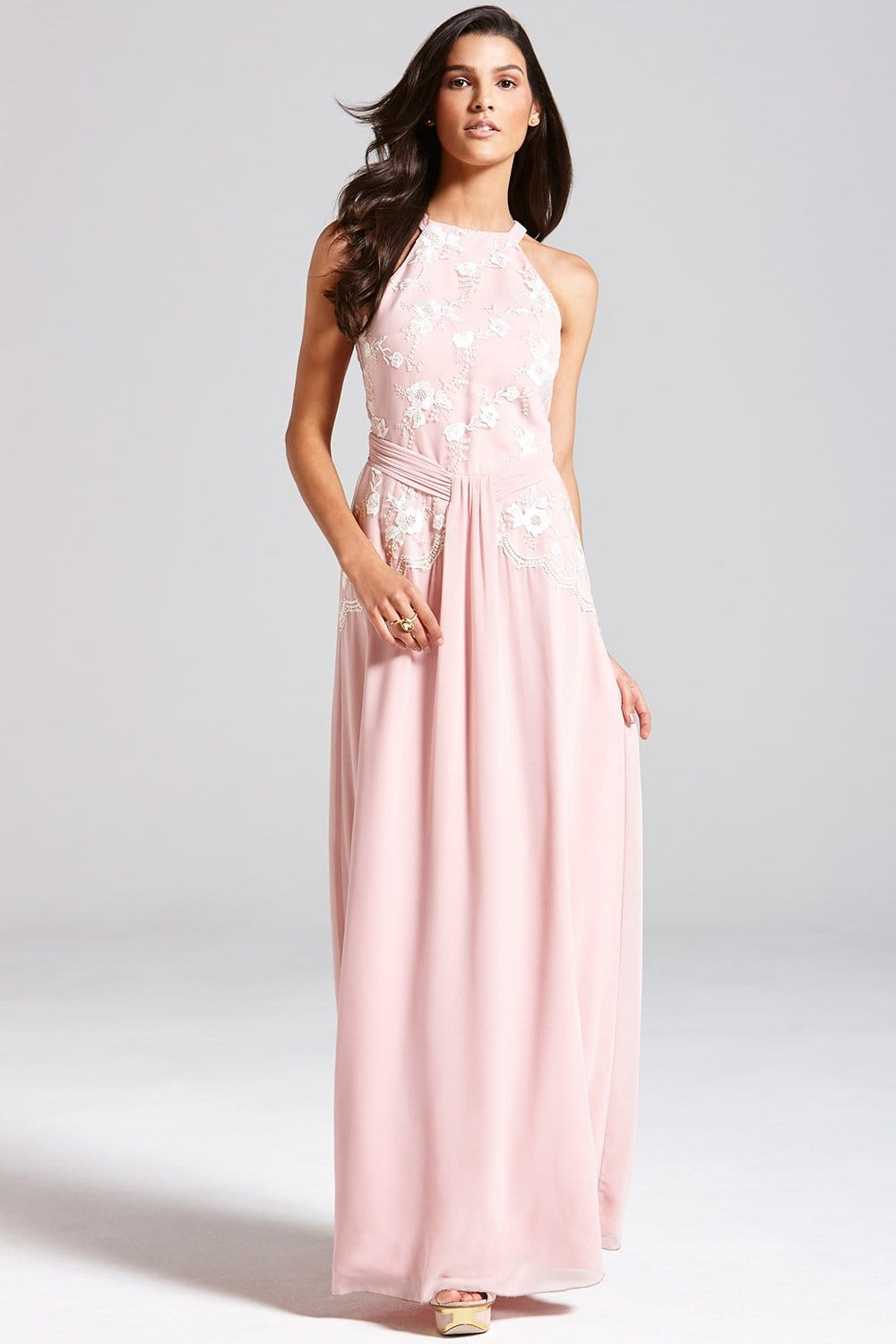 Rose Pink Floral Embroidered Maxi Dress From Little