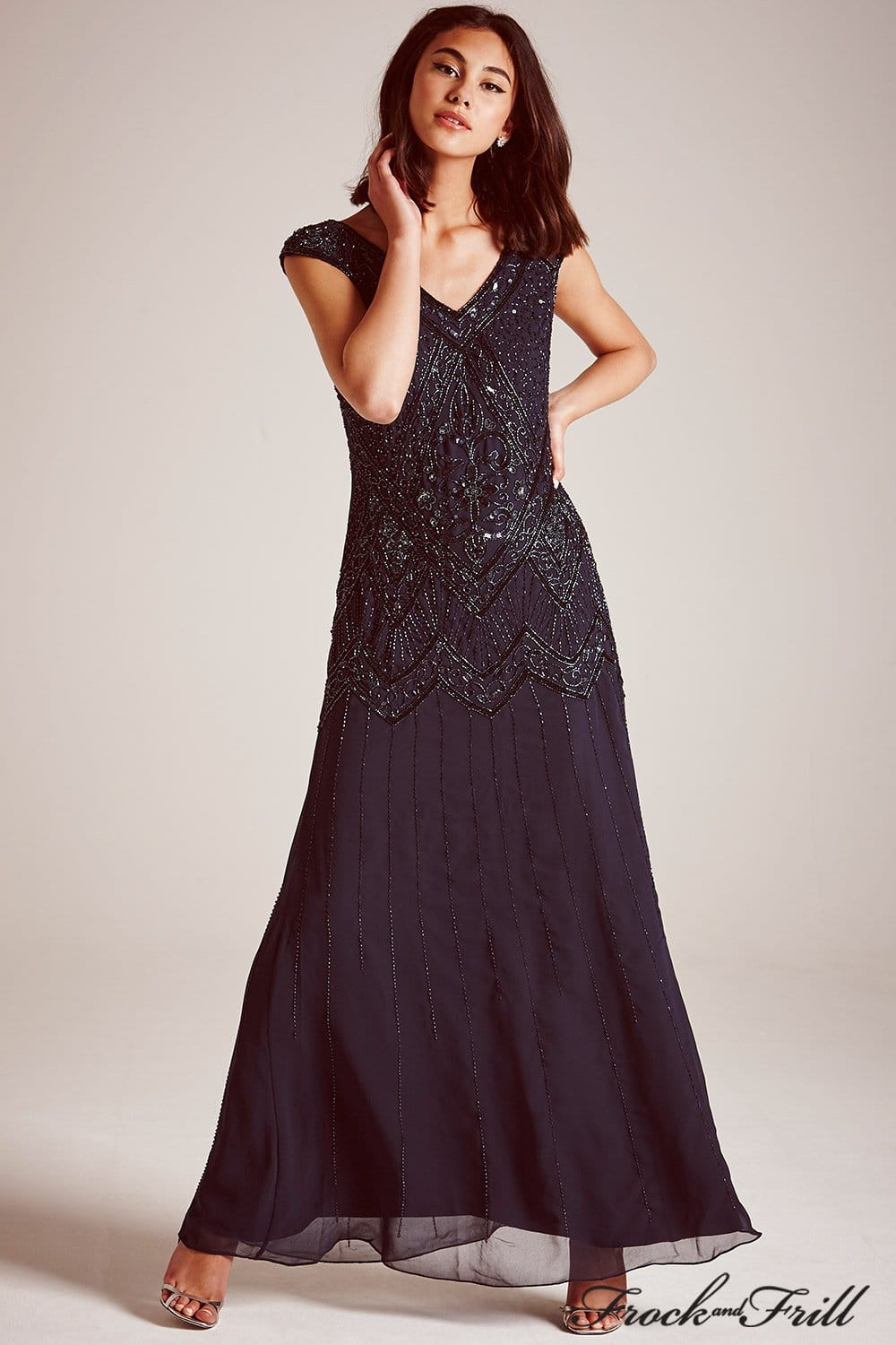 frock and frill navy embellished sequin maxi dress frock and frill from little mistress uk. Black Bedroom Furniture Sets. Home Design Ideas