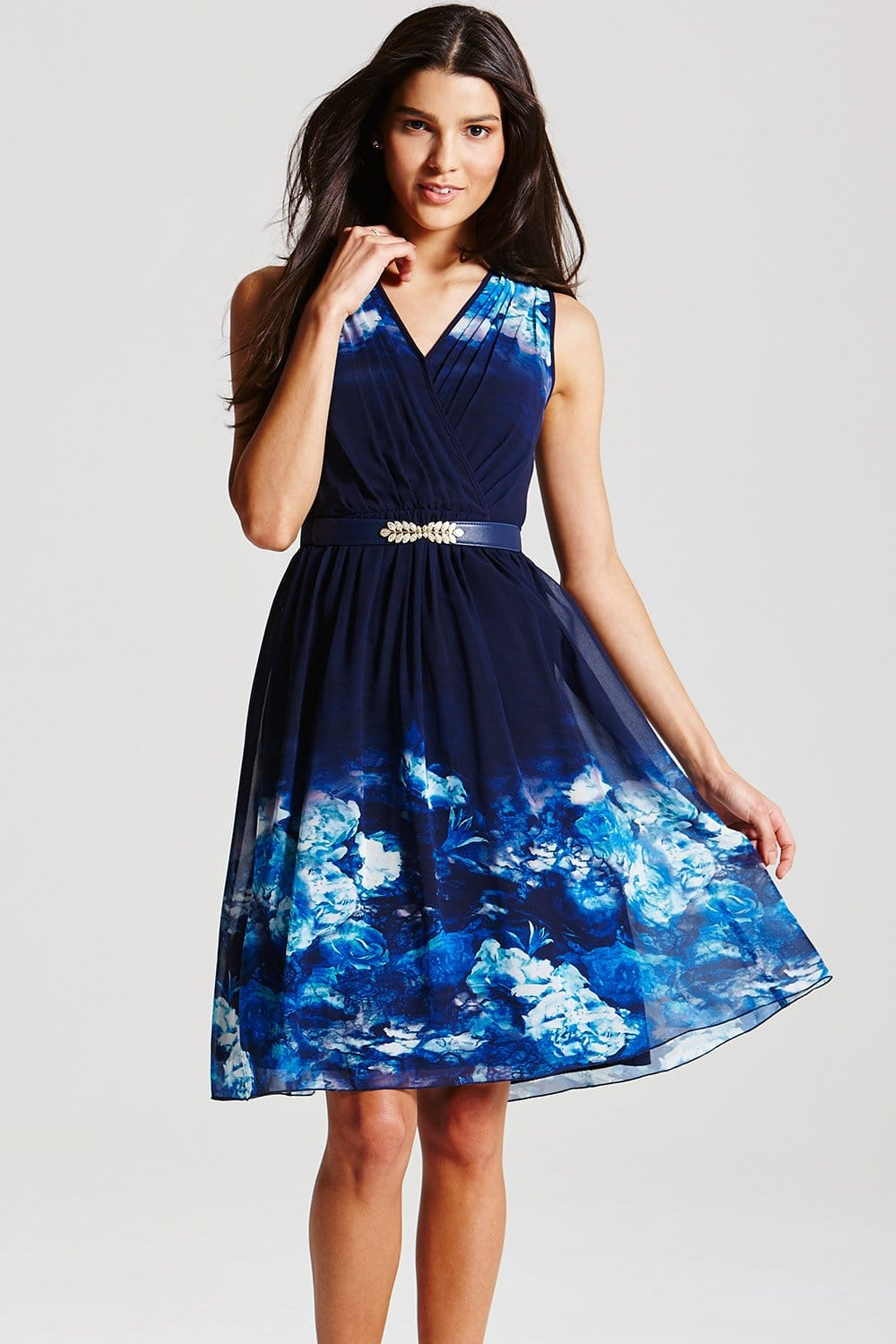 Blue Floral Crossover Dress From Little Mistress Uk