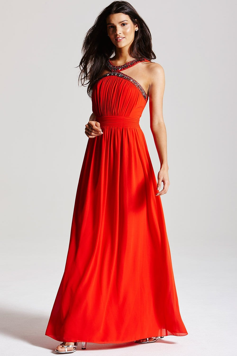 Orange Red Round Neck Chiffon Overlay Dress on sale only US$ now, buy cheap Orange Red Round Neck Chiffon Overlay Dress at topinsurances.ga