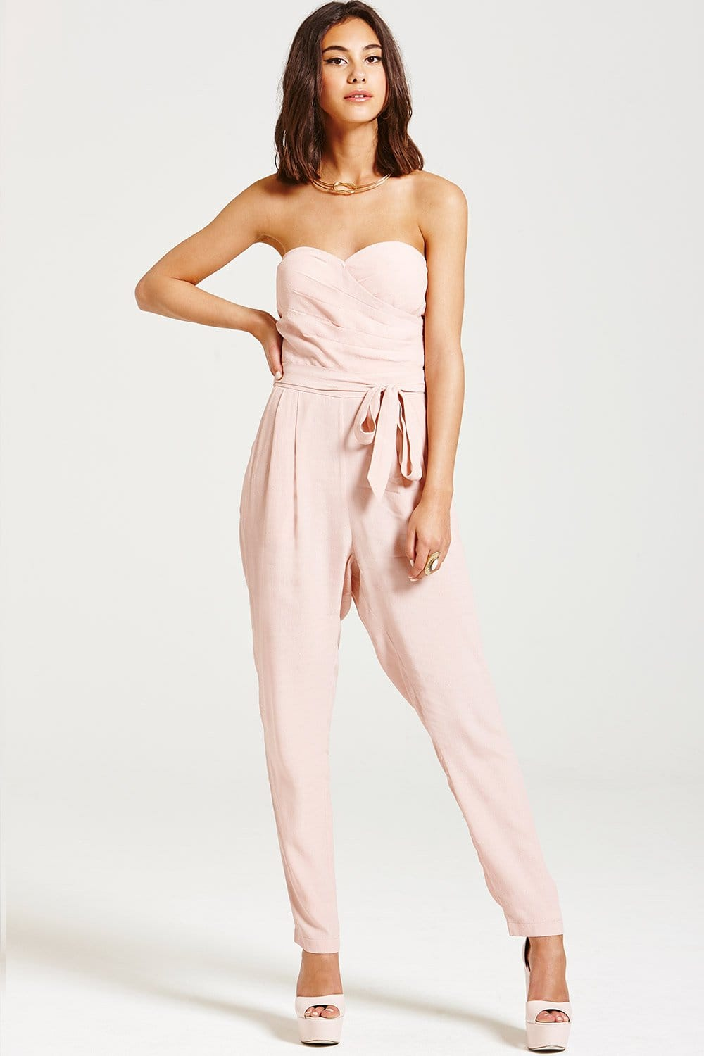 31fa8ca85e0e Outlet Girls On Film Dusty Pink Bandeau Jumpsuit - Outlet Girls On Film  from Little Mistress UK