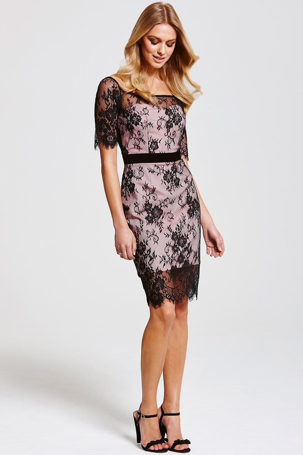 Cosmo Black And Nude Lace Overlay
