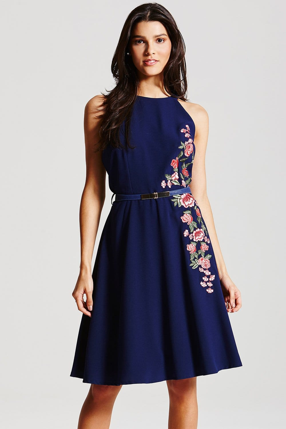 Navy Floral Embroidered Fit And Flare Dress From Little