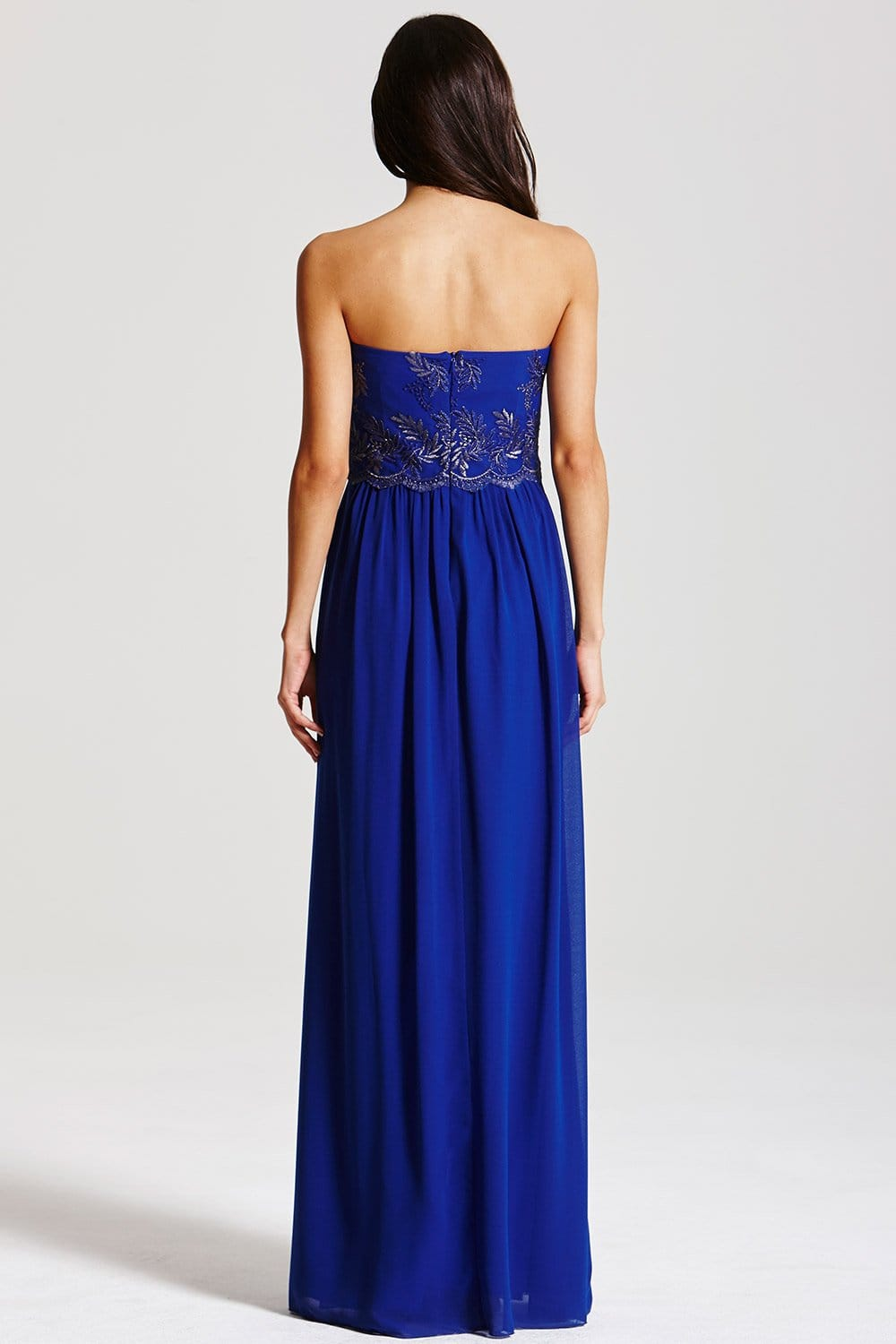 Cobalt Blue Embroidered Maxi Dress From Little Mistress Uk