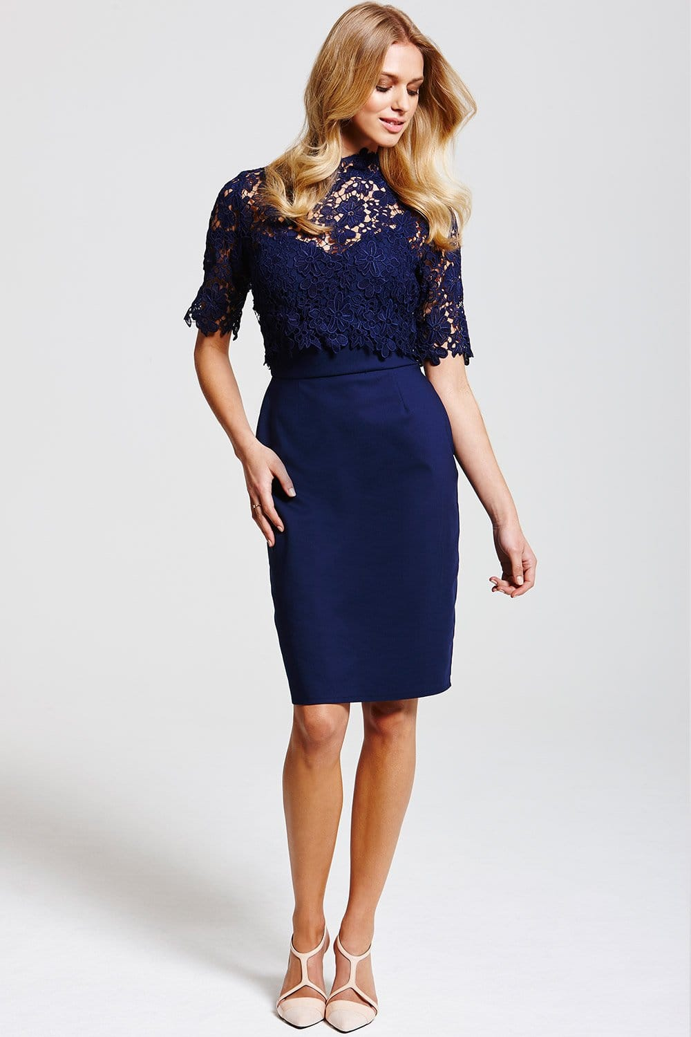 Paper Dolls Navy Floral Lace Overlay Dress Paper Dolls
