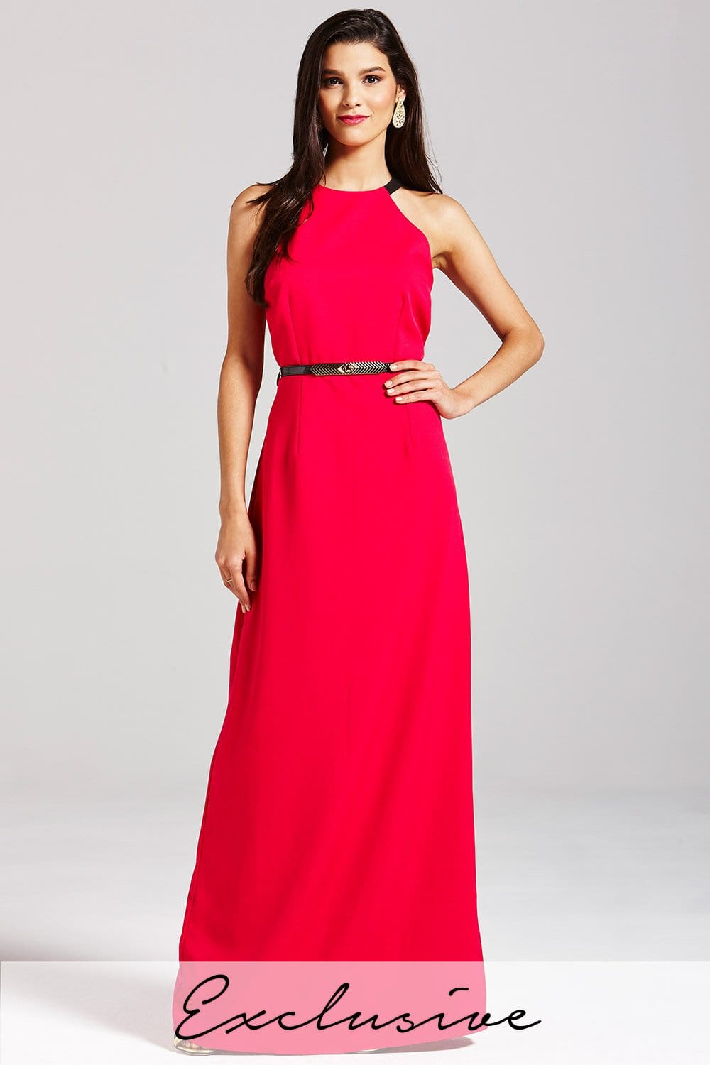 Little Mistress Pink High Neck Maxi Dress - Little Mistress from ...