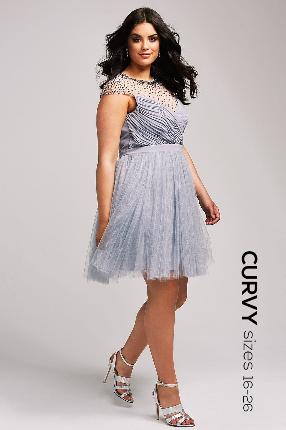 grey beaded prom dress from uk