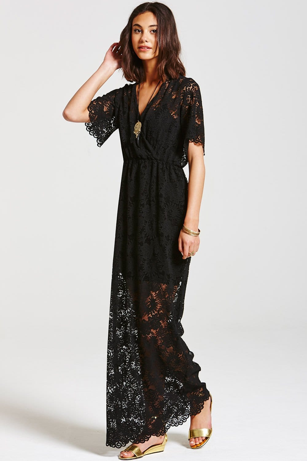 Outlet Girls On Film Black Layered Lace Maxi Dress - Outlet Girls ...