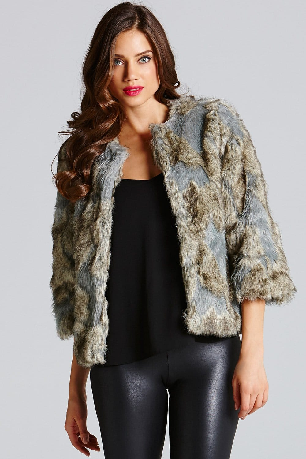 Little Mistress Grey Cropped Faux Fur Jacket - Little Mistress