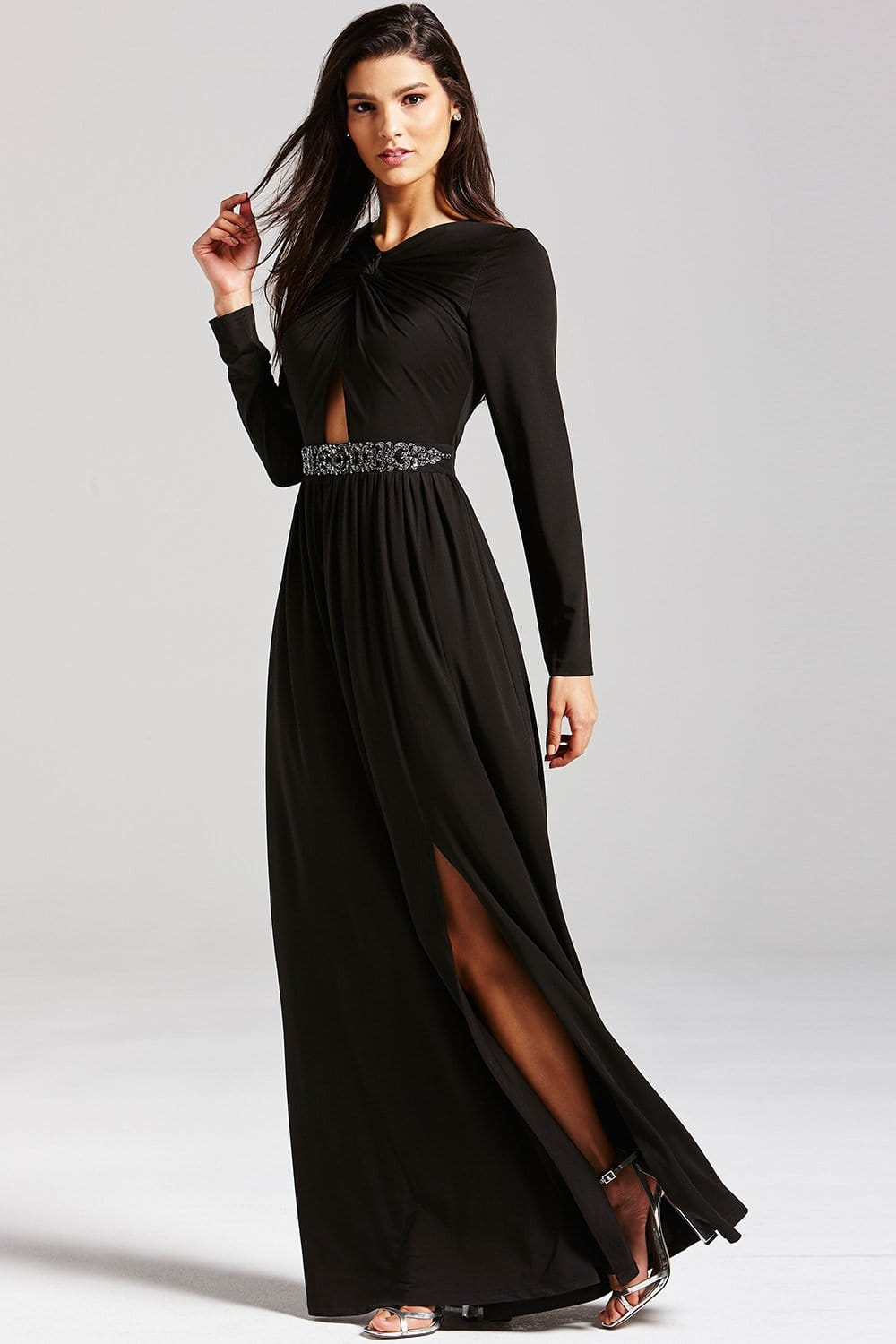 Black Embellished Cut Out Maxi Dress From Little Mistress Uk