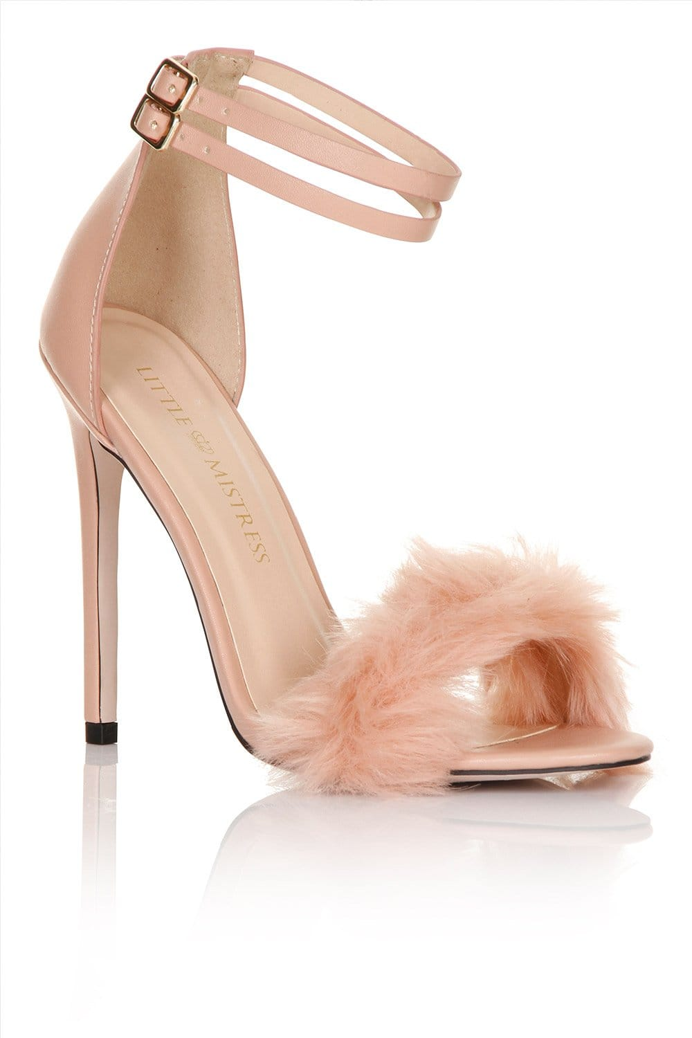 Little Mistress Footwear Blush fur / double ankle strap heel
