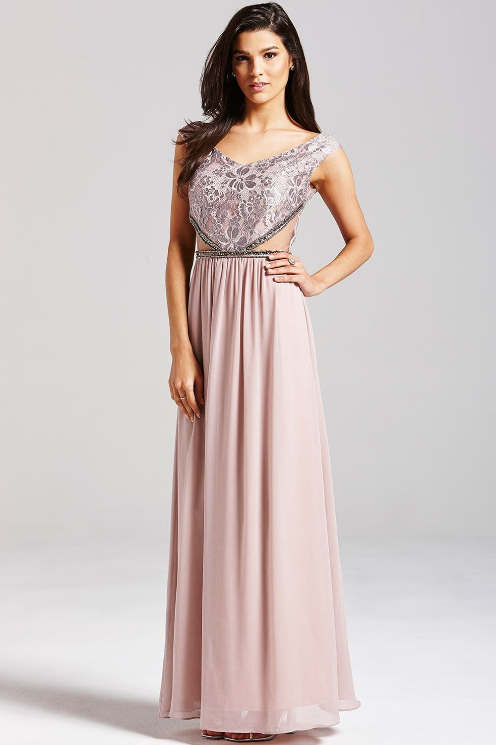 Mink Embellished Lace Maxi Dress - from Little Mistress UK