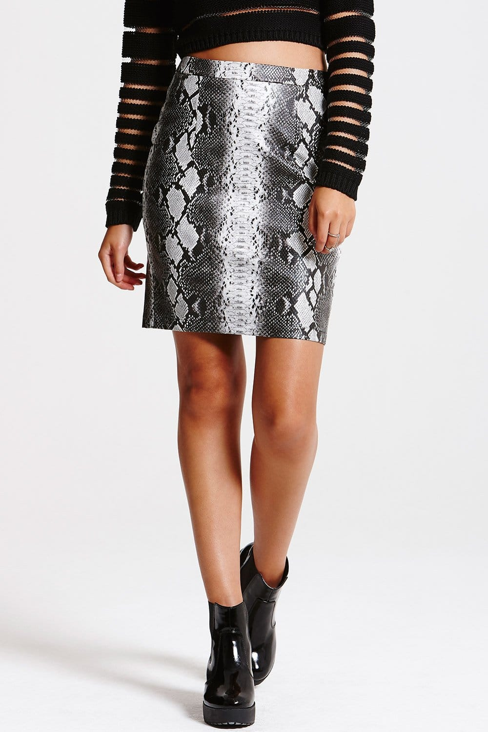 Outlet Girls On Film Grey Snakeskin PU Leather Mini Skirt - Outlet ...