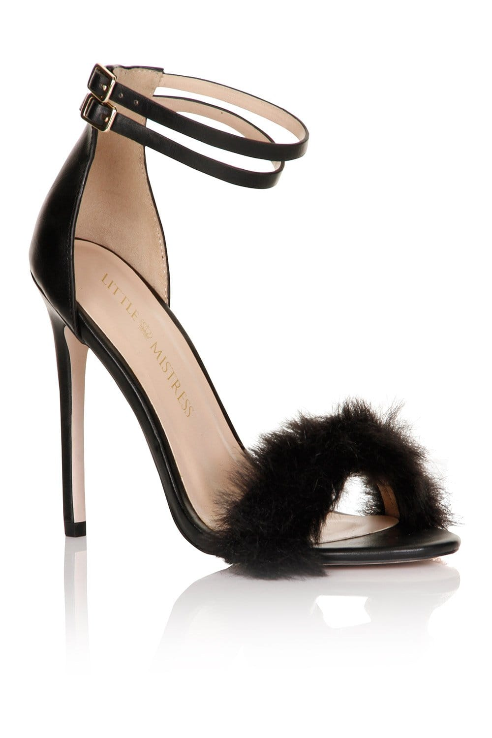 Little Mistress Footwear Black Fur / Double Ankle Strap Heel