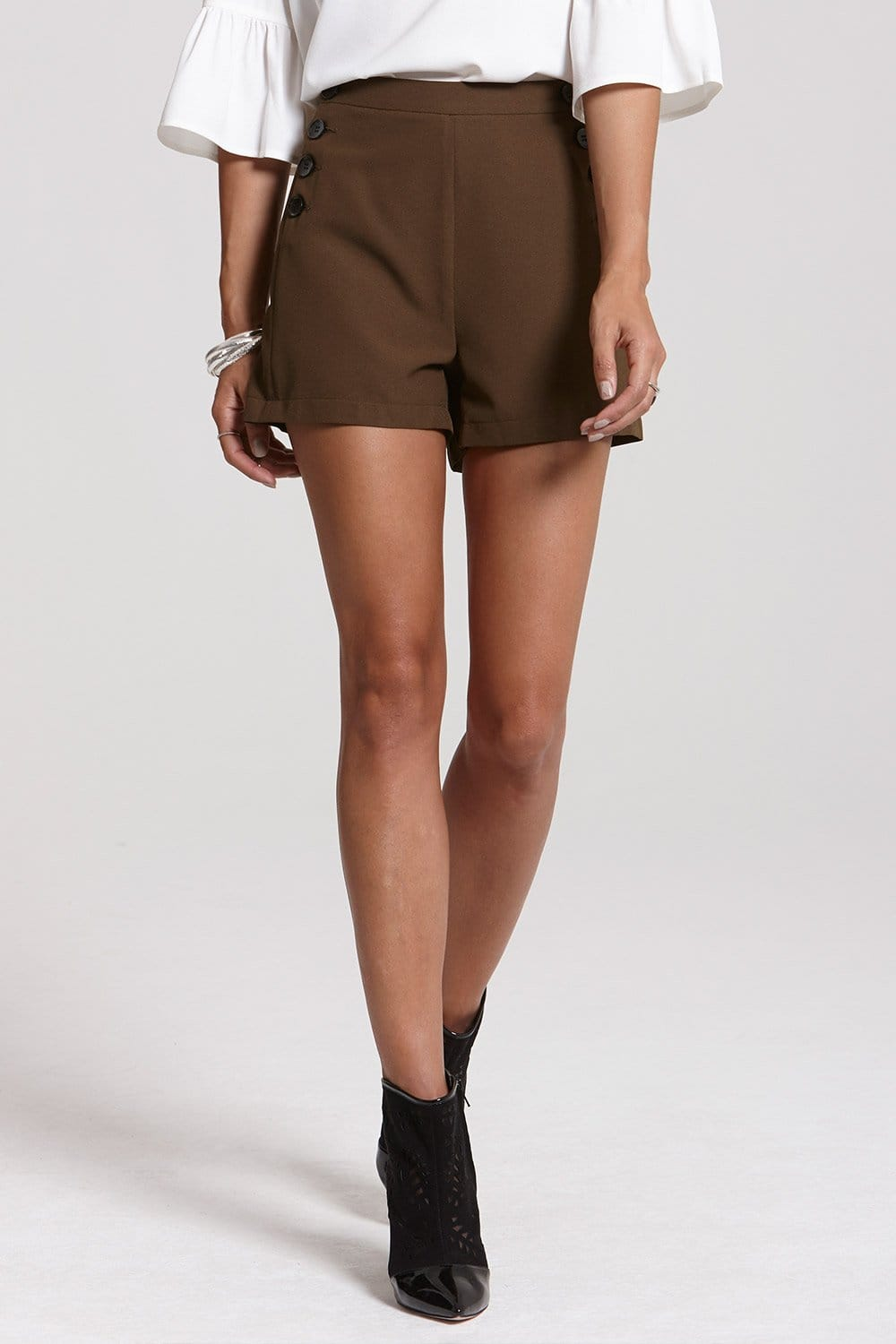 Outlet Girls On Film High Waisted Khaki Button Shorts - Outlet ...