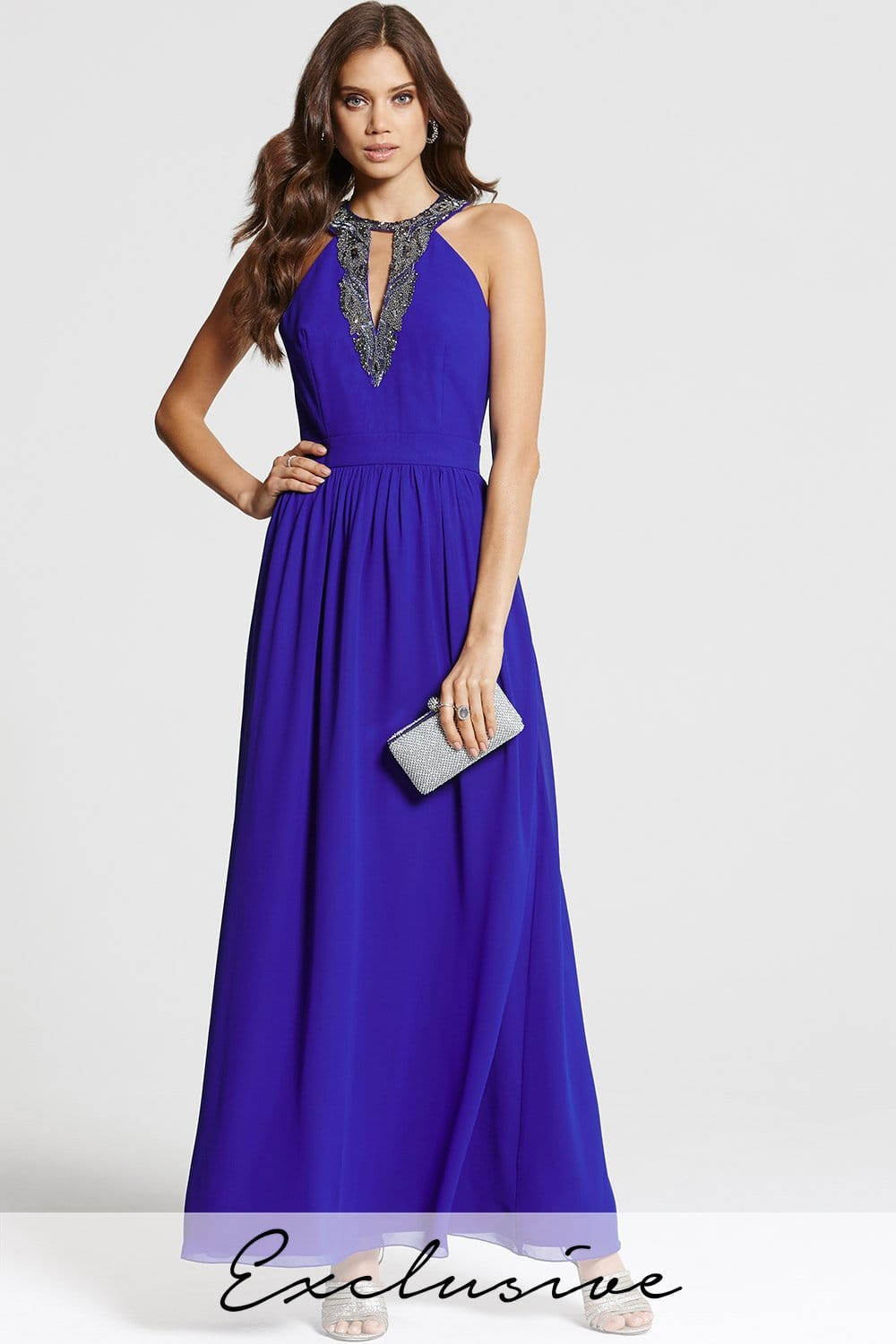 Cobalt Blue Embellished Maxi Dress From Little Mistress Uk