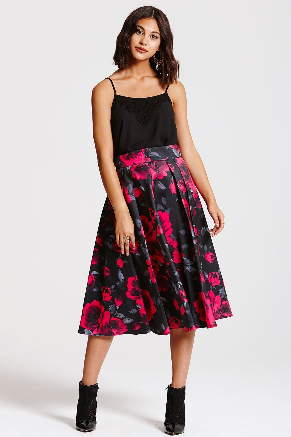 Outlet Girls On Film Black and Pink Floral A-Line Skirt - Outlet ...