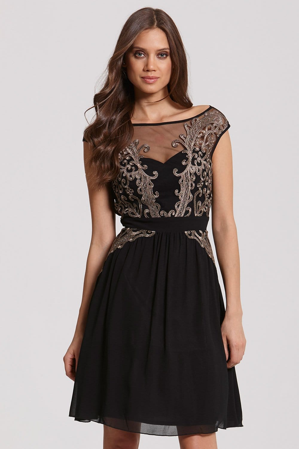 Black and Gold Appliqué Fit and Flare Dress - from Little Mistress UK
