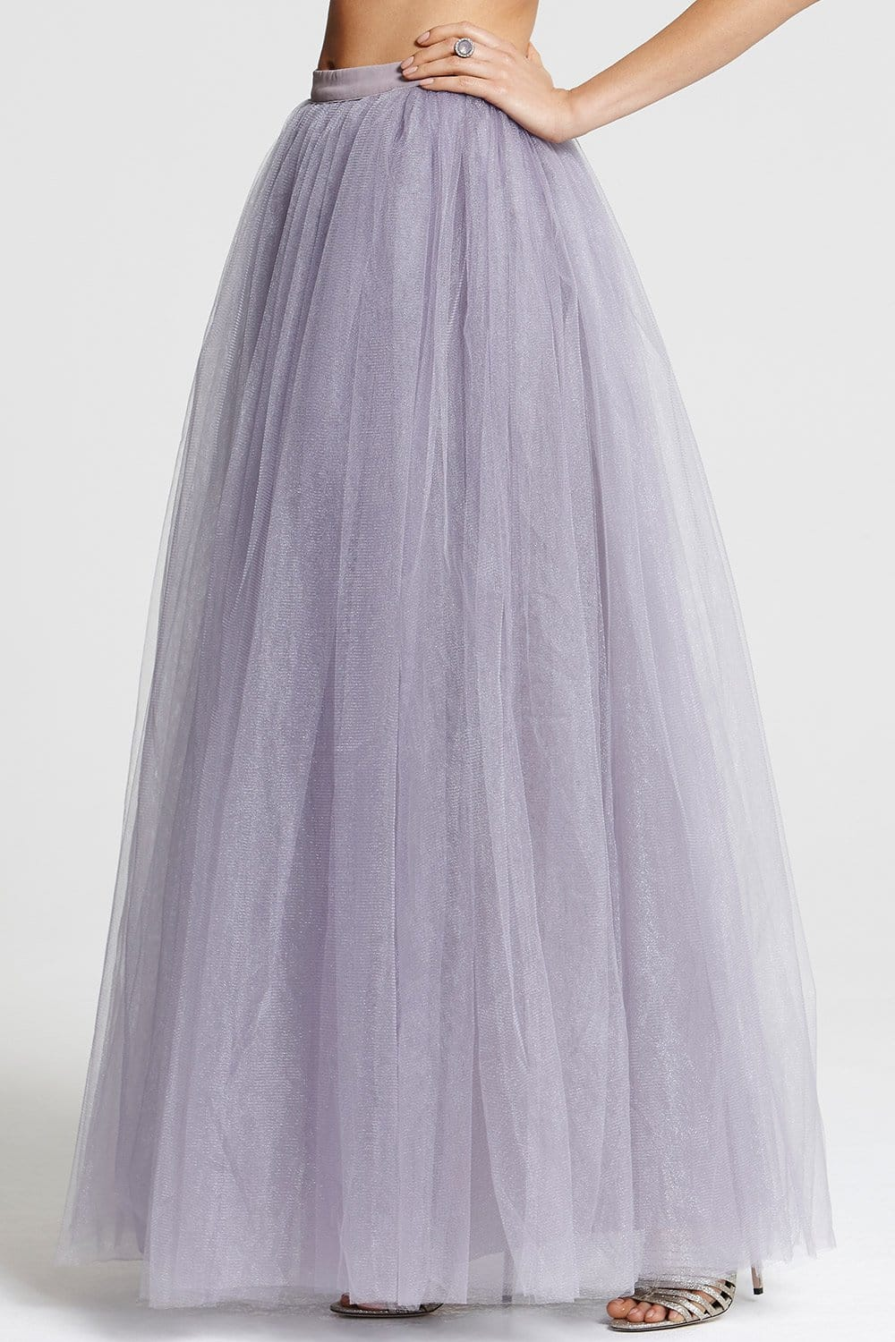 lilac tulle maxi skirt