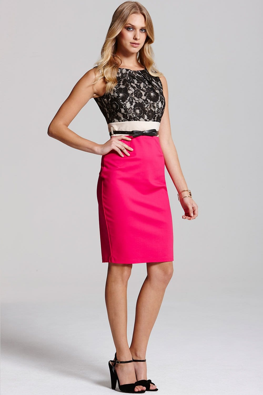Outlet Paper Dolls Pink and Black Lace Contrast Dress - Outlet ...