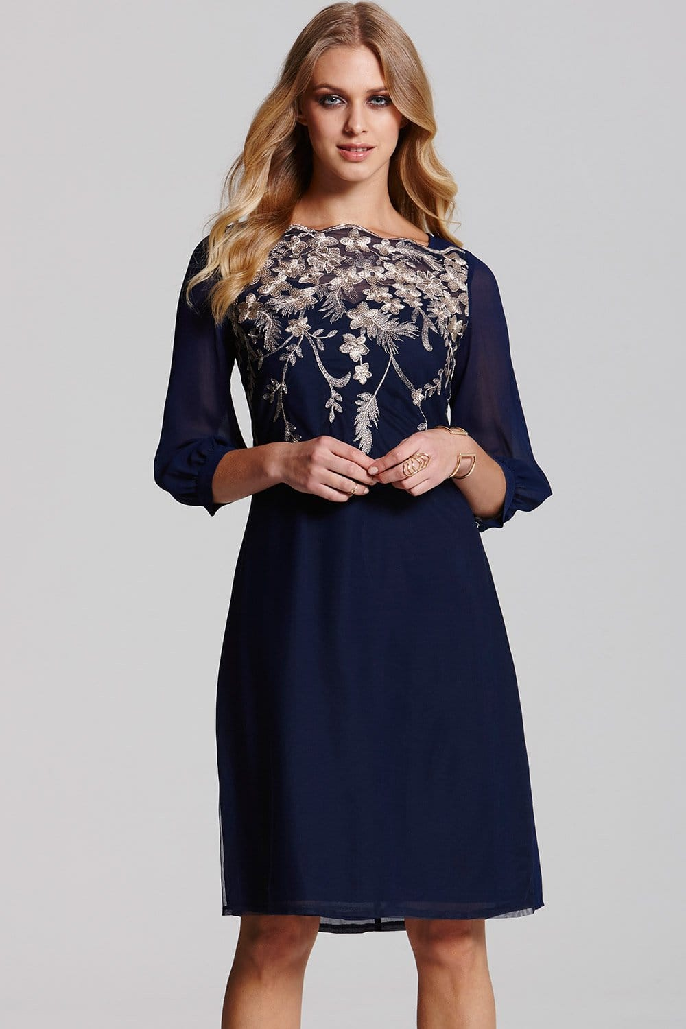 Navy And Gold Embroidered Tunic From Little Mistress Uk
