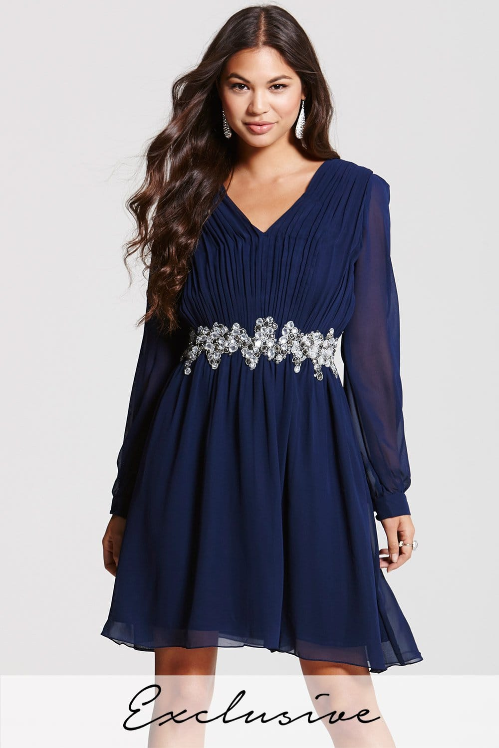 Navy V Neck Tunic Dress - from Little Mistress UK