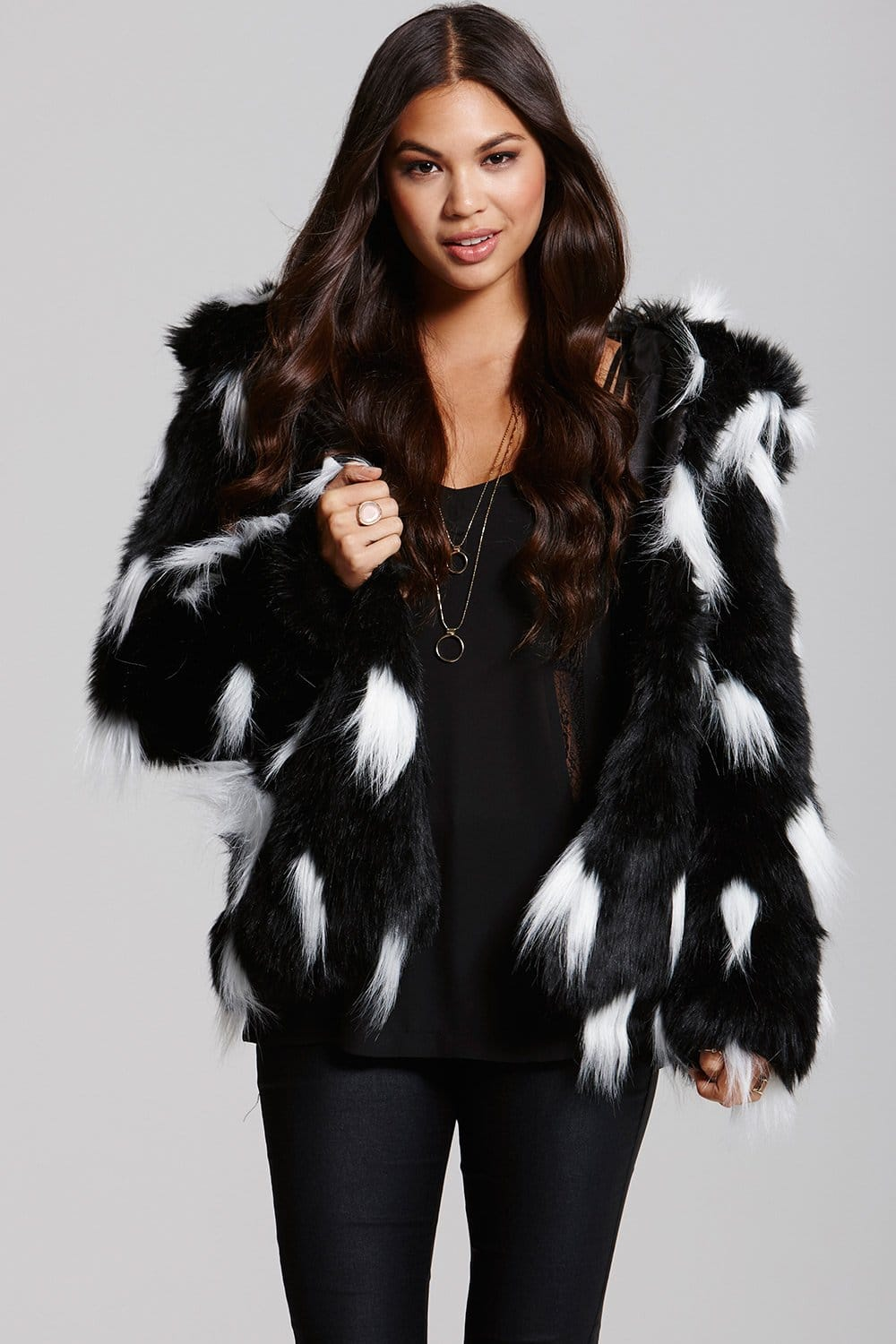Little Mistress Black And White Faux Fur Coat Little
