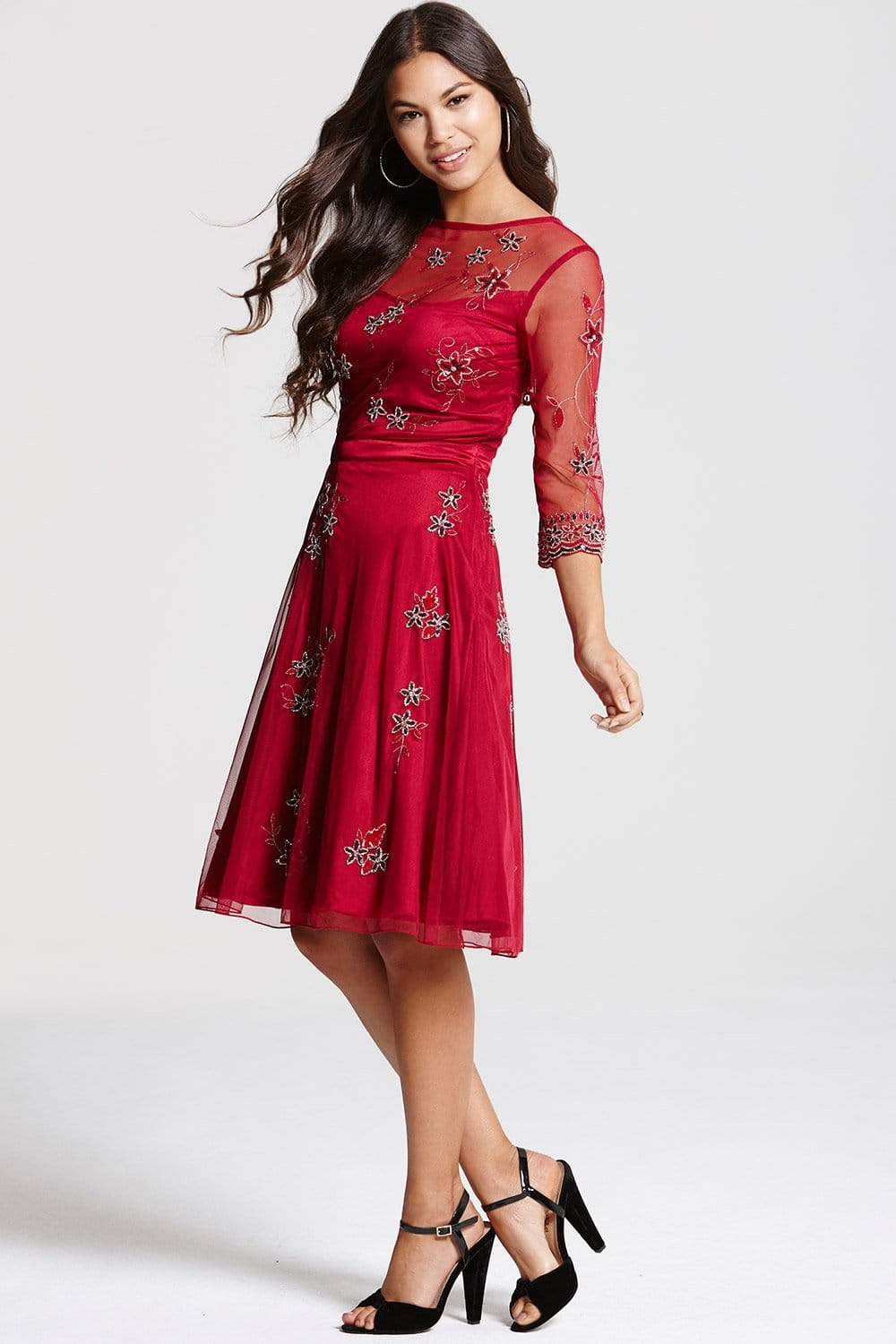Red embroidered skater dress from little mistress uk