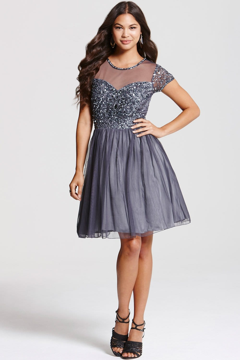 Grey Fit And Flare Embellished Dress From Little Mistress Uk