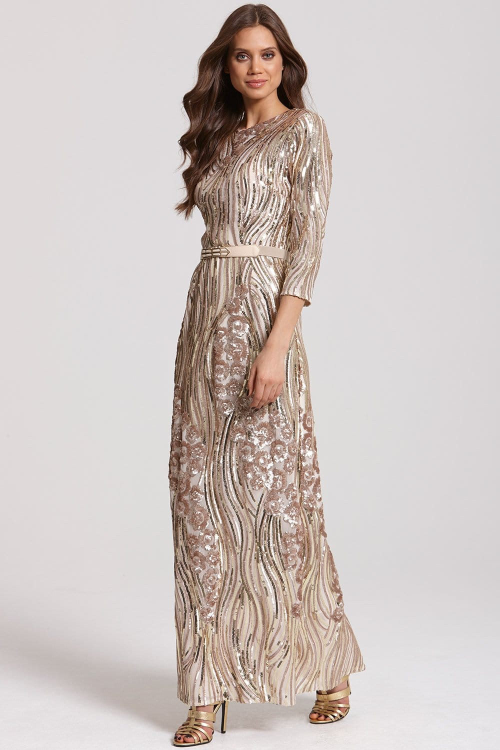 d75c93ad4dc Gold and Mink Heavily Embellished Maxi Dress - from Little Mistress UK