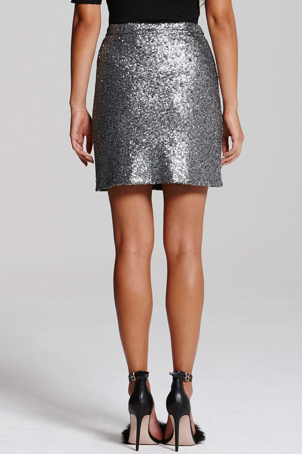 Outlet Girls On Film Silver Sequin Mini Skirt - Outlet Girls On ...