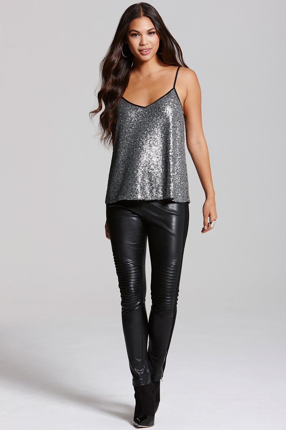 Outlet Girls On Film Silver Sequin Cami Top Outlet Girls