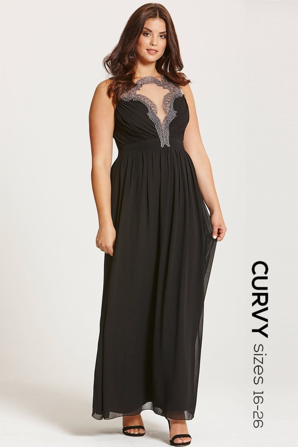 Black embroidered maxi dress from little mistress uk