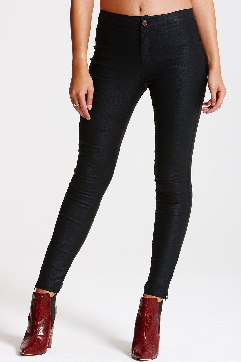 Outlet Girls On Film Black Leather Look Jeans - Outlet Girls On ...