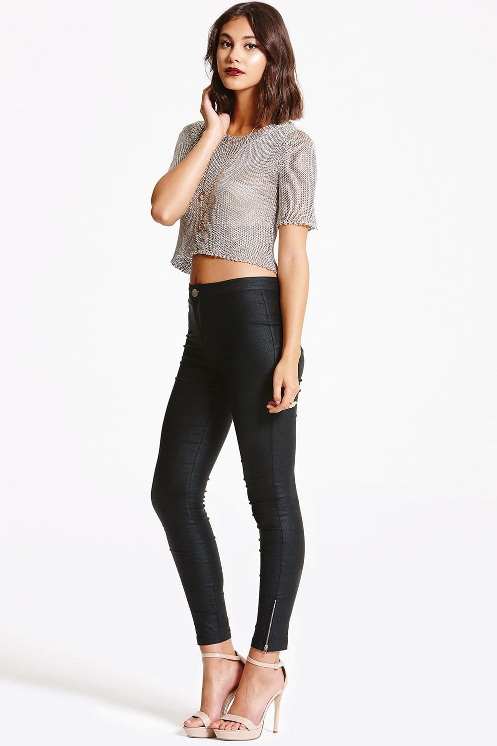 Outlet Girls On Film Black Leather Look Jeans Outlet