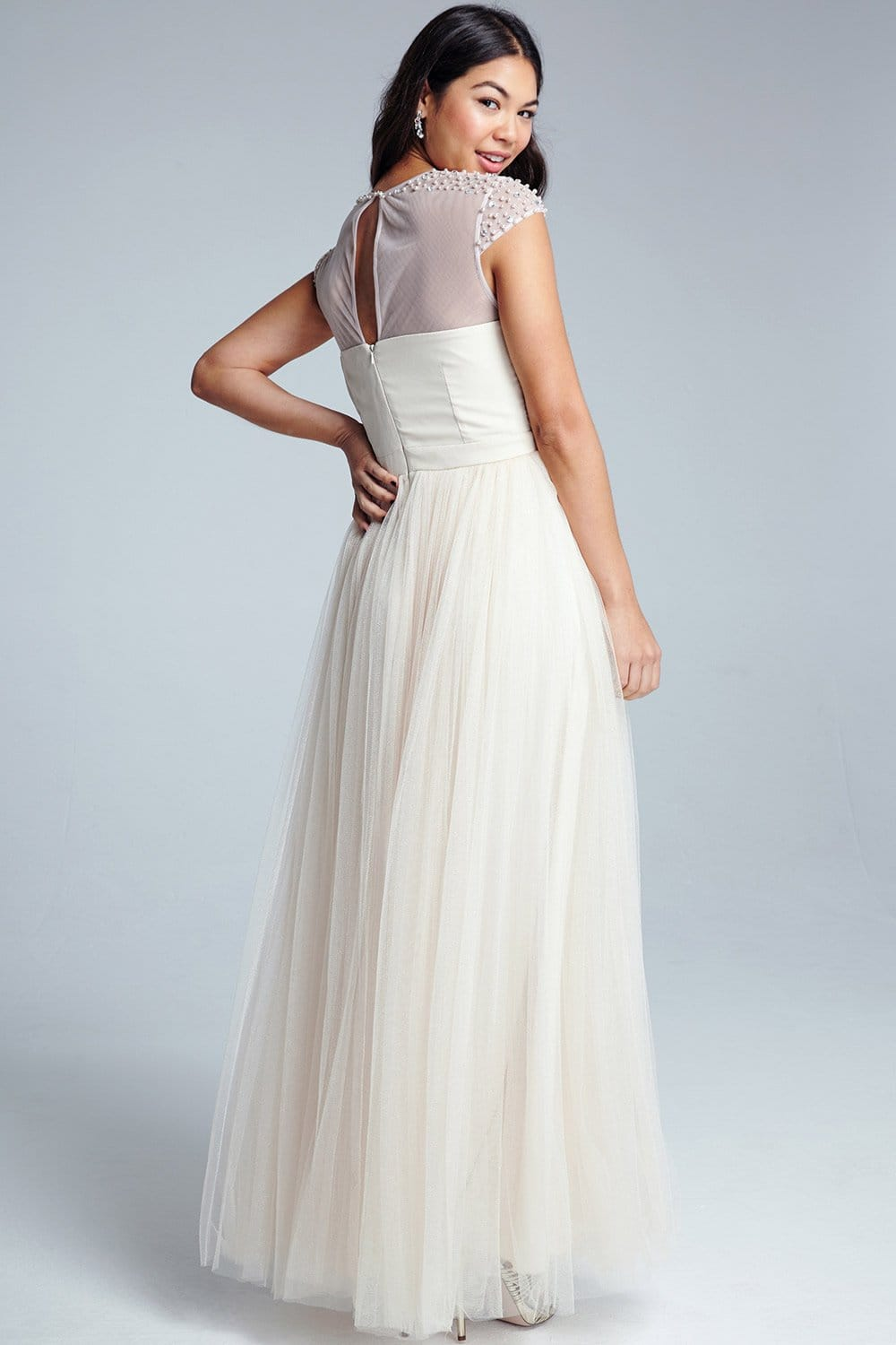 Nude Beaded Maxi Dress - from Little Mistress UK